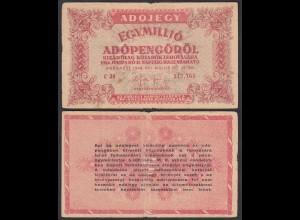 Ungarn - Hungary 1-Million Egymillió Adopengo 1946 Pick 140a F/VF (3/4)