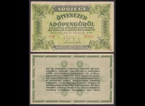 Ungarn - Hungary 50.000 Ötvenezer Adopengo 1946 VF (3) Pick 138a