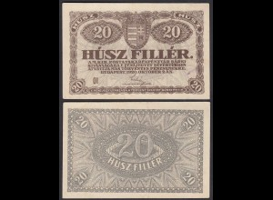 Ungarn - Hungary 20 Filler Banknote 1920 Pick 43 VF (3) (24887
