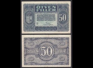 Ungarn - Hungary 50 Filler Banknote 1920 Pick 44 VF (3) (24889