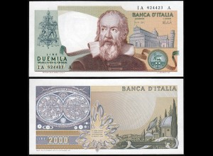 Italien - Italy 2000 Lire Banknotes 1973 UNC Pick 103a GALILEO GALILEI