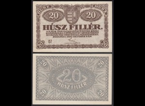 Ungarn - Hungary 20 Filler Banknote 1920 Pick 43 UNC (1) (25802