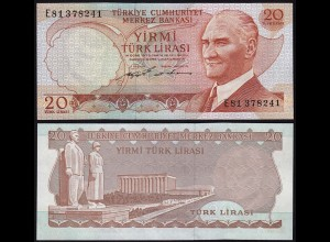 Türkei - Turkey 20 Lira Banknote 1970 (1974) Pick 187a UNC black Signature(15779