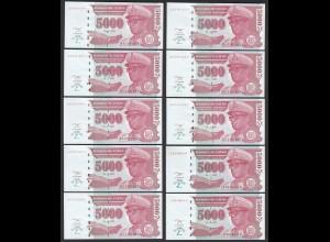 Zaire - 10 Stück á 5000 5.000 Nouveaux Zaires 1995 Pick 69 UNC (89017