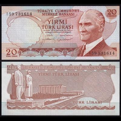 Türkei - Turkey 20 Lira Banknote 1970 (1974) Pick 187b UNC (15780