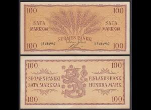 FINNLAND - FINLAND 100 MARKKA 1957 PICK 97a VF+ (3+) (24962