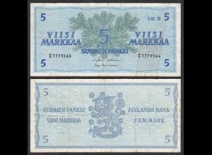 FINNLAND - FINLAND 5 MARKKA 1963 PICK 106Aa F (4) (24976