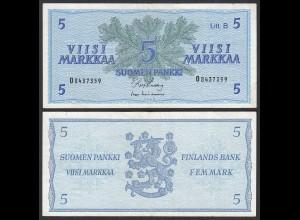 FINNLAND - FINLAND 5 MARKKA 1963 PICK 106Aa VF (3) (24981