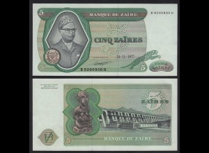 Zaire 5 Zaires 1977 Banknote Pick 21b XF (2) (25001