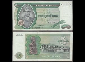 Zaire 5 Zaires 1977 Banknote Pick 21b VF (3) (25002