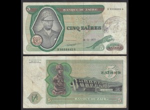 Zaire 5 Zaires 1977 Banknote Pick 21b mit Stempel - with stamp (25003