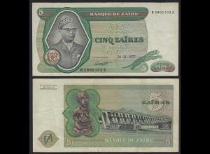 Zaire 5 Zaires 1977 Banknote Pick 21b VF- (3-) (25005