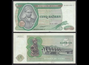Zaire 5 Zaires 1977 Banknote Pick 21b XF (2) (25006