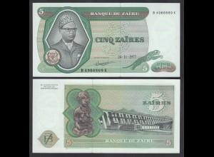 Zaire 5 Zaires 1977 Banknote Pick 21b UNC (1) (25007