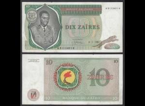 Zaire 10 Zaires 1981 Banknote Pick 24b VF (3) (25008