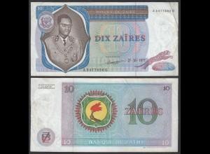 Zaire 10 Zaires 1977 Banknote Pick 23b VF (3) (25010