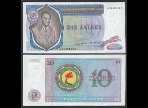 Zaire 10 Zaires 1977 Banknote Pick 23b XF (2) (25012