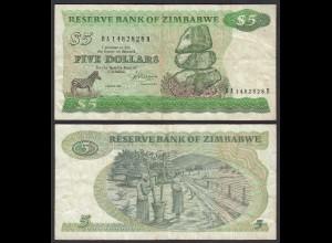 Simbabwe - Zimbabwe 5 Dollars 1983 Pick 2c F (4) (25018