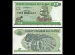 Simbabwe - Zimbabwe 5 Dollars 1983 Pick 2c UNC (1) (25021