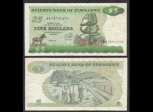 Simbabwe - Zimbabwe 5 Dollars 1994 Pick 2d F (4) (25022