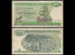 Simbabwe - Zimbabwe 5 Dollars 1982 Pick 2d VG/F (4/5) (25023
