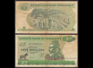 Simbabwe - Zimbabwe 5 Dollars 1994 Pick 2e VG (5) (25025