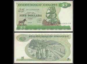 Simbabwe - Zimbabwe 5 Dollars 1994 Pick 2e VF (3) (25026