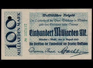 100 Milliarden Mark 1923 Münster Landesbank Provinz Westfalen (16068