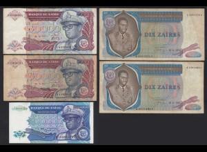 Zaire - 5 Stück Banknoten 1976-1992 gebraucht (25027