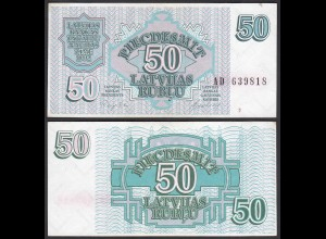 Lettland - Latvia 50 Rubel Banknoten 1992 Pick 40VF (3) (24860