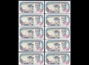 Sambia - Zambia 10 Stück á 10 Kwacha Banknote Pick 31a UNC (1) (25029