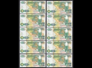 Sambia - Zambia 10 Stück á 20 Kwacha Banknote Pick 36b UNC (1) (25030