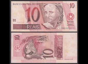 BRASILIEN - BRAZIL 10 REAIS Pick 245Ae VF (3) sig.39 (24765