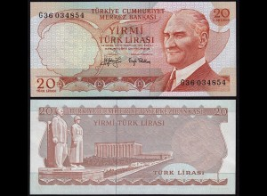 Türkei - Turkey 20 Lira Banknote 1970 (1974) Pick 187a UNC black Signature Sig.2
