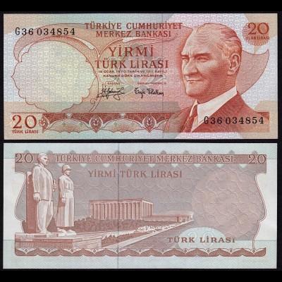 Türkei - Turkey 20 Lira Banknote 1970 (1974) Pick 187a UNC black Signature Sig.2
