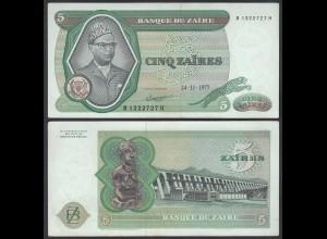 Zaire 5 Zaires 1977 Banknote Pick 21b aUNC (1-) (25084