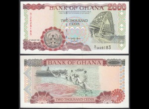 Ghana 2000 Cedis Banknote 1995 Pick 30b UNC (1) (25088
