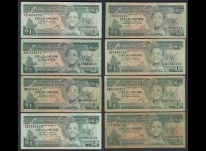 Äthiopien - Ethiopia 8 Stück á 1 Birr Banknote z.T. unterschiedliche Sig. (25097