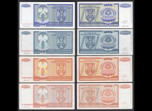 Kroatien - Croatia 4 Stück Inflations Banknoten 1993 VF/XF (2/3) (25117