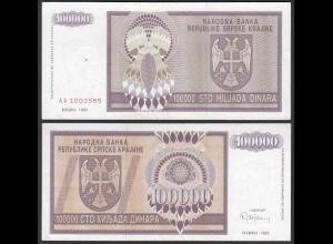 Kroatien - Croatia 100000 100.000 Dinara Banknote 1993 Pick R9 XF (2) (25120