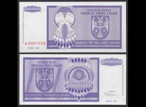 Kroatien - Croatia 5-Milliarden Dinara Banknote 1993 Pick R18 UNC (1) (25122