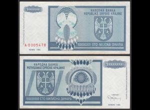 Kroatien - Croatia 100-Millionen Dinara Banknote 1993 Pick R15 VF (3) (25125