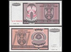 Kroatien - Croatia 10-Milliiarden Dinara Banknote 1993 Pick R19 aUNC (1-)