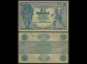 UNGARN - HUNGARY 5 Korona 1919 Pick 34 aVF (3-) (25171