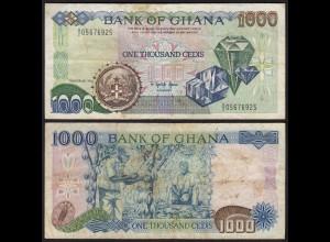 Ghana 1000 Cedis Banknote 1991 Pick 29a F (4) (25182