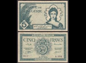 ALGERIEN - ALGERIA 5 Francs Banknote 1942 VF (3) Pick 91 (25219