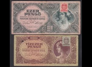 Ungarn - Hungary 1000 + 10000 Pengo 1945 Pick 118b + 119b F/VF (3/4) (25221