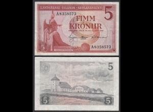 Iceland - Island 5 Kroner 1957 Pick 37b VF- (3-) (25227