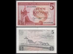Iceland - Island 5 Kroner 1957 Pick 37b VF- (3-) (25228