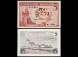 Iceland - Island 5 Kroner 1957 Pick 37b aUNC (1-) (25229